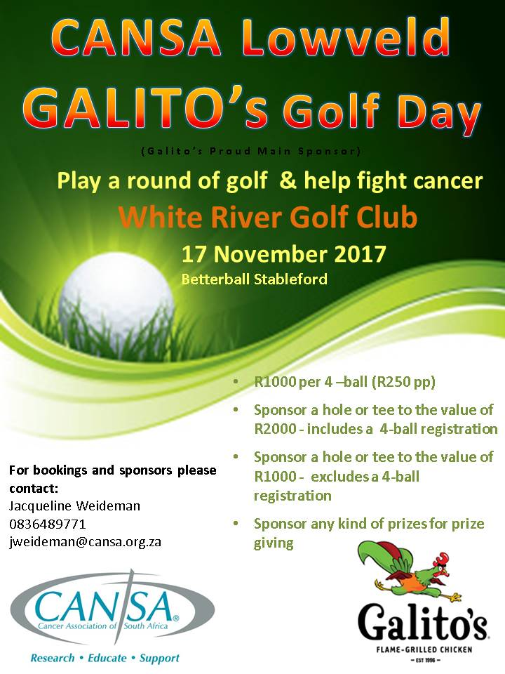 CANSA Lowveld Galito's Golf Day @ White River Country Club