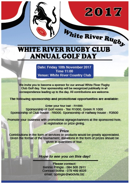 WR Rugby Club Golf Day @ White River Country Club